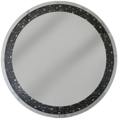 Messina Black Gem Round Wall Mirror