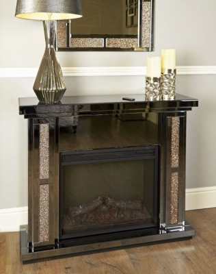 Olivet Mirrored Fire Surround with Electric Fire
