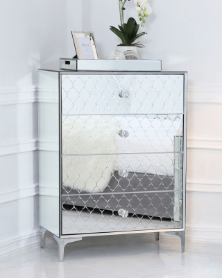 Prentice Mirrored 4 Drawer Chest
