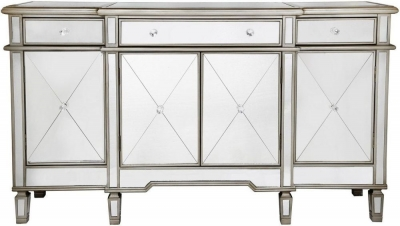 Trinel Mirrored Gold Trim Cabinet