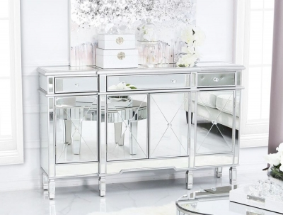 Trinel Mirrored Silver Trim Cabinet
