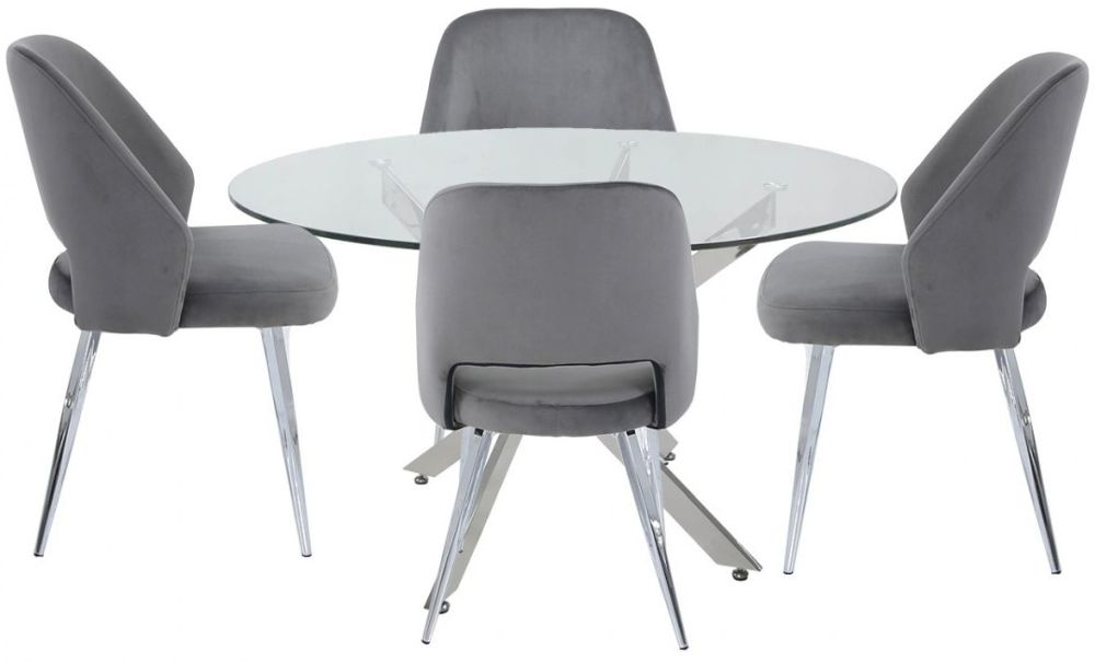 Ville 130cm Round Glass Dining Set with 4 Grey Scoop Chairs