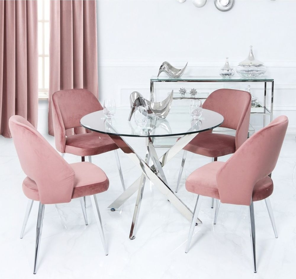 Ville 130cm Round Glass Dining Set with 4 Pink Scoop Chairs