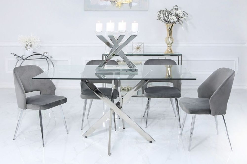 Ville 160cm Rectangular Glass Dining Set with 4 Grey Scoop Chairs