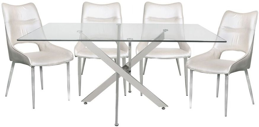 Ville Glass 160cm Rectangular Dining Set with 4 White Faux Leather Chairs