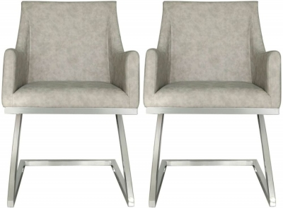 Willow Light Grey Faux Leather Dining Chair (Set of 4)