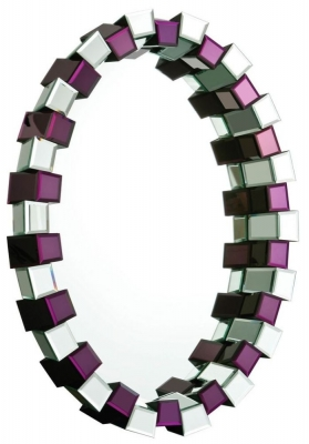 Madison Purple and Clear Glass Oval Mirror