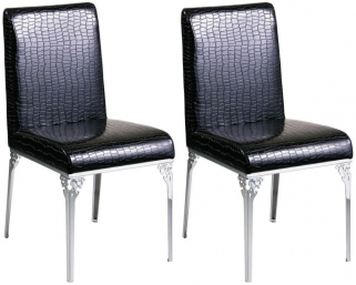 Seattle Black Leather Dining Chair (Pair)