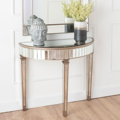 Urban Deco Antoinette Mirrored Half Moon Console Table
