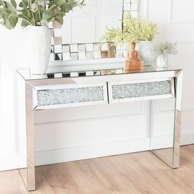 Urban Deco Crushed Diamond Angled Mirrored Dressing Table