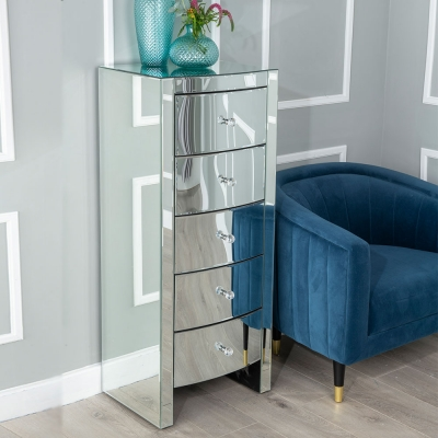 Urban Deco Curve Mirrored 5 Drawer Tall Chest