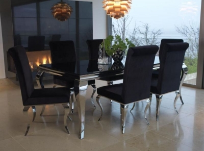 Boise Black Glass Top 200cm Rectangular Dining Set with 6 Chairs