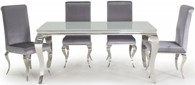 Boise White Glass Top 160cm Rectangular Dining Set with 4 Chairs