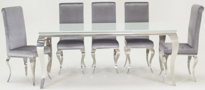 Boise White Glass Top 200cm Rectangular Dining Set with 6 Chairs