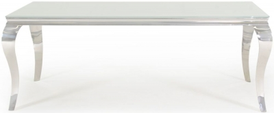 Boise White Glass Top 200cm Rectangular Dining Table