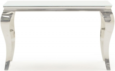 Boise White Glass Top Console Table
