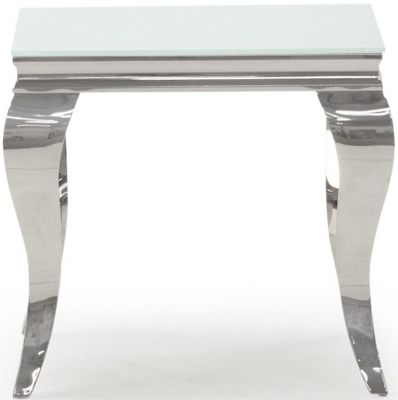 Boise White Glass Top End Table