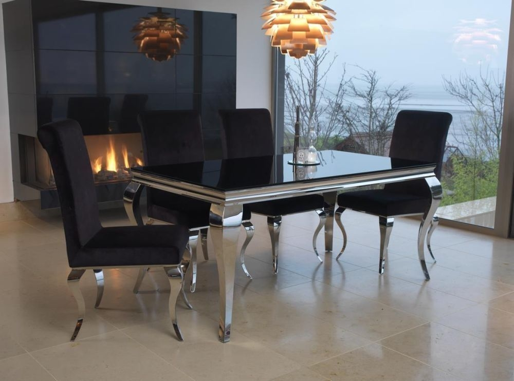 Boise Black Glass Top 160cm Rectangular Dining Set with 4 Chairs