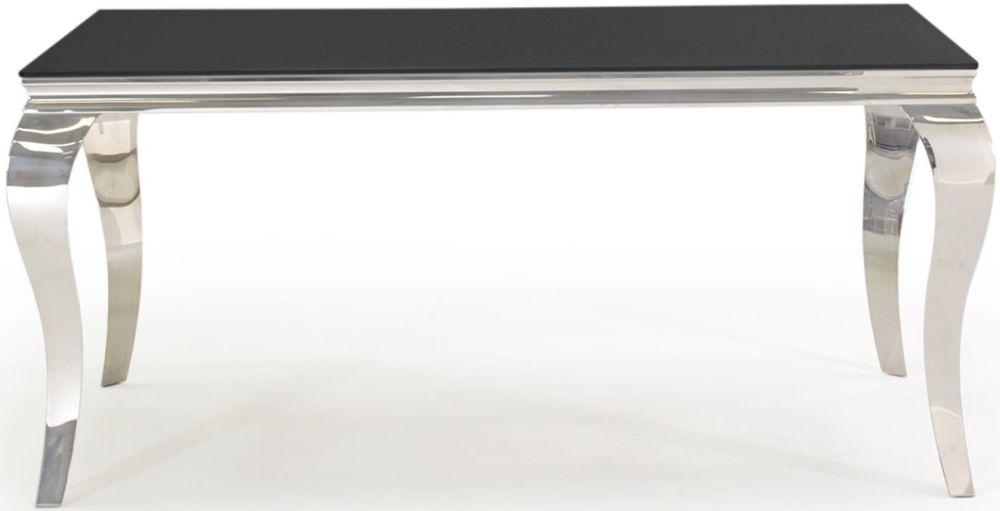 Boise Black Glass Top 160cm Rectangular Dining Table