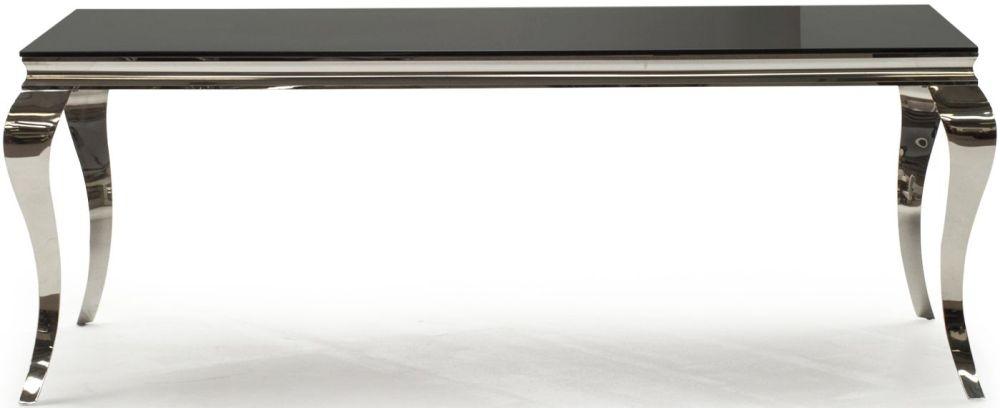 Boise Black Glass Top 200cm Rectangular Dining Table