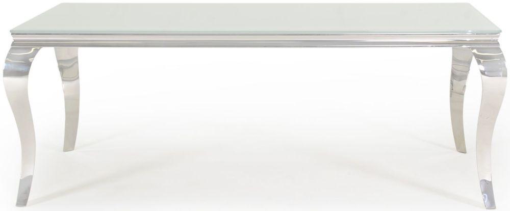 Boise White Glass Top 200cm Rectangular Dining Table