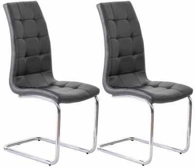 Amelia Black Faux Leather Dining Chair (Pair)