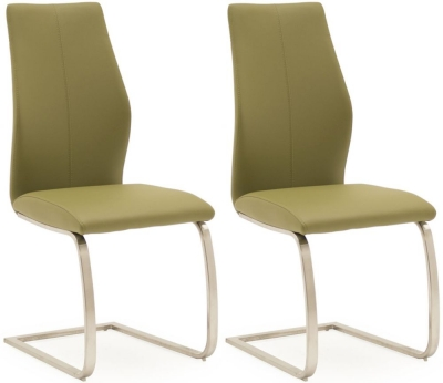 Empire Olive Faux Leather Dining Chair (Pair)