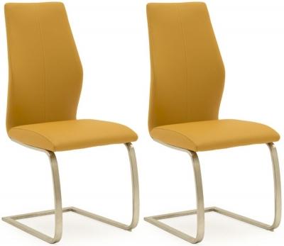 Empire Pumpkin Faux Leather Dining Chair (Pair)