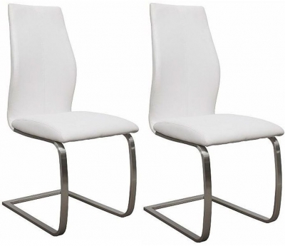 Empire White Faux Leather Dining Chair (Pair)