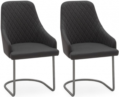 Jones Brushed Steel Charcoal Dining Chair (Pair)