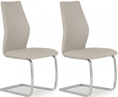 Lena Taupe Faux Leather Dining Chair (Pair)