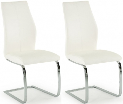 Lena White Faux Leather Dining Chair (Pair)