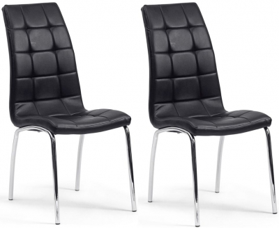 Saint Black Faux Leather Dining Chair (Pair)