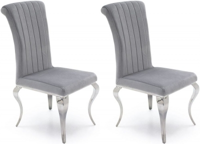 Wavey Silver Fabric Dining Chair (Pair)