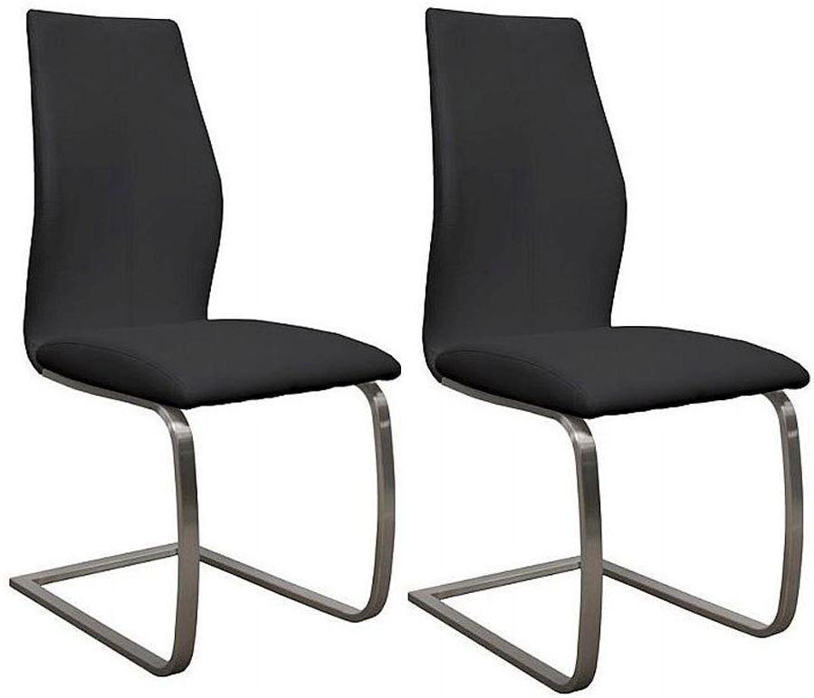 Empire Black Faux Leather Dining Chair (Pair)
