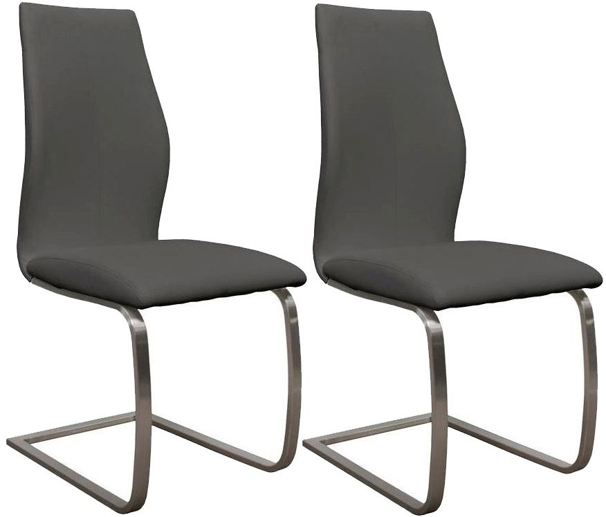Empire Grey Faux Leather Dining Chair (Pair)