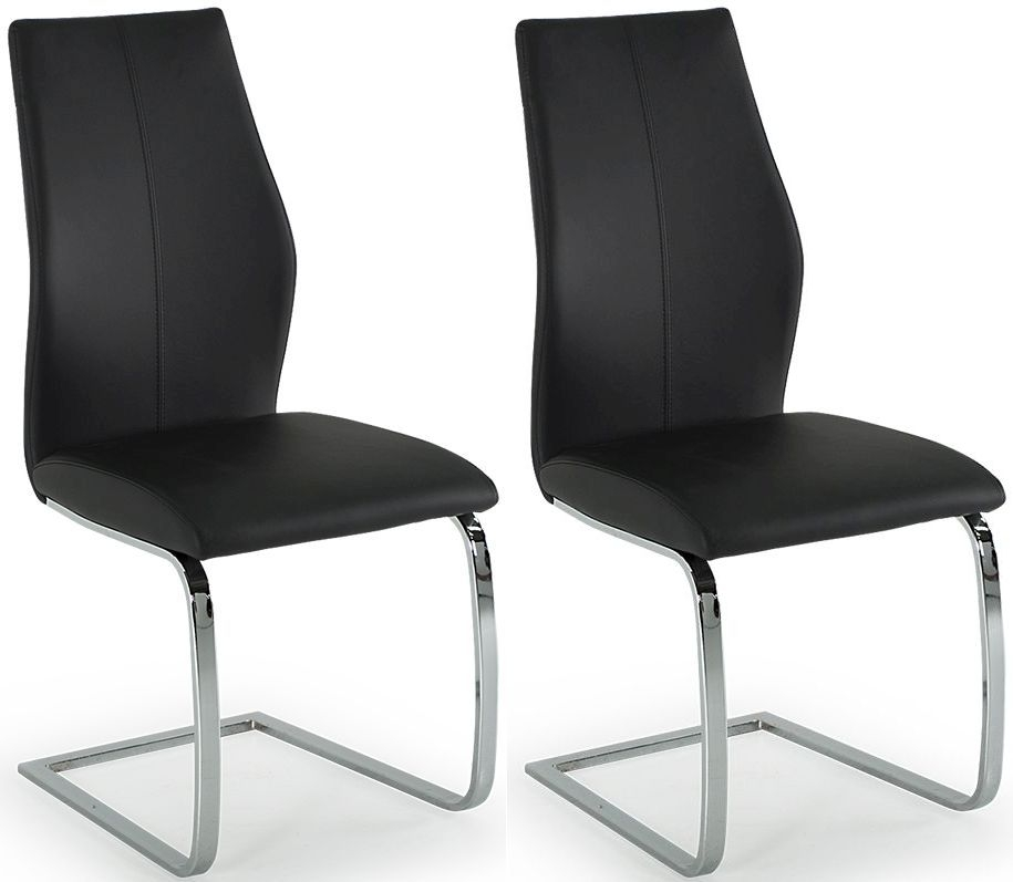 Lena Black Faux Leather Dining Chair (Pair)