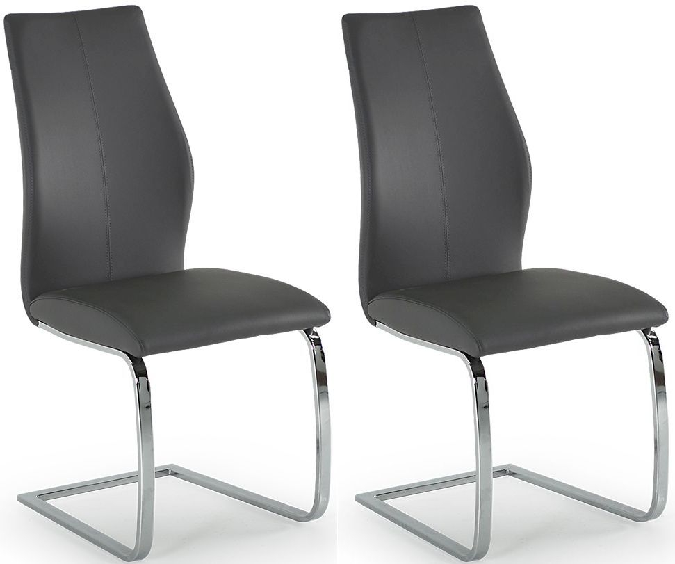 Lena Grey Faux Leather Dining Chair (Pair)