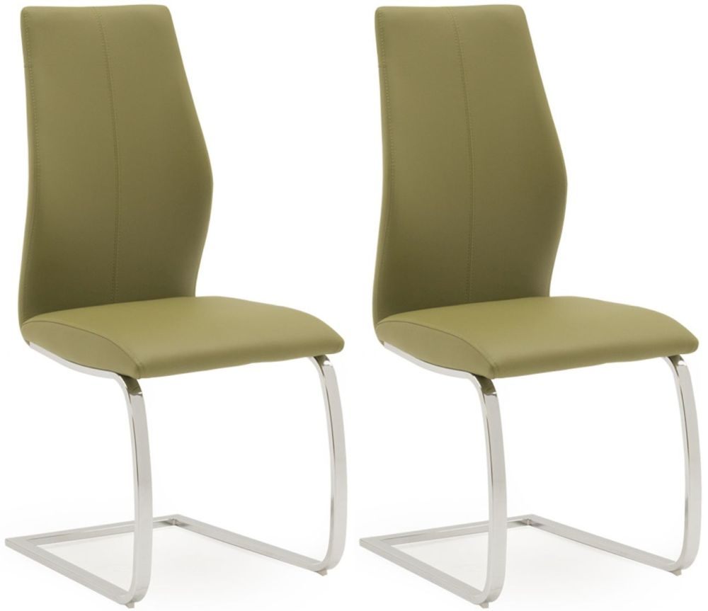 Lena Olive Faux Leather Dining Chair (Pair)