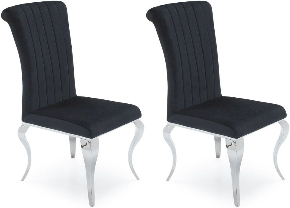 Wavey Black Fabric Dining Chair (Pair)