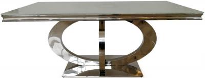 Nashville White Glass Top 180cm Rectangular Dining Table