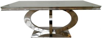 Nashville White Glass Top 220cm Rectangular Dining Table