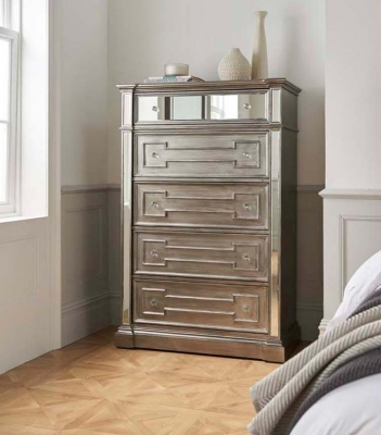 Pittsburgh Silver Mirror Panel 5 Drawer Chest