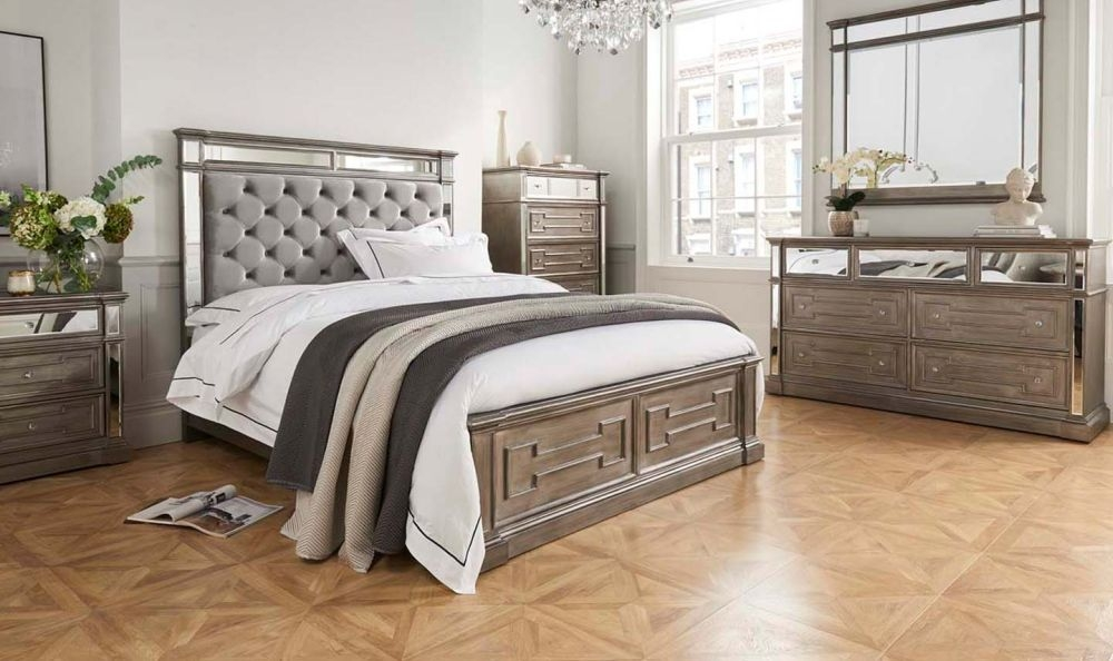 Pittsburgh Silver Mirror Panel Bed