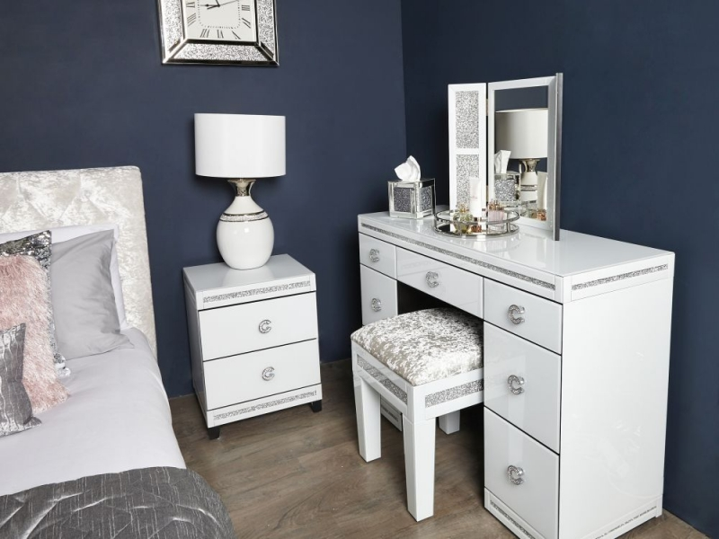 Easton White Mirrored Bedside Cabinet