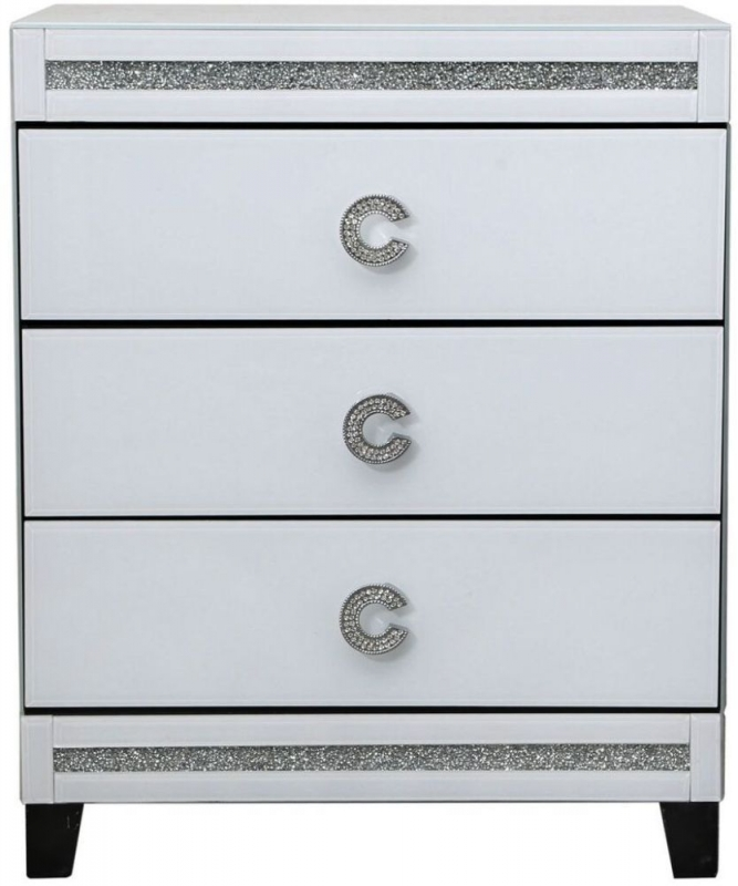 Easton White Mirrored 3 Drawer Bedside Cabinet