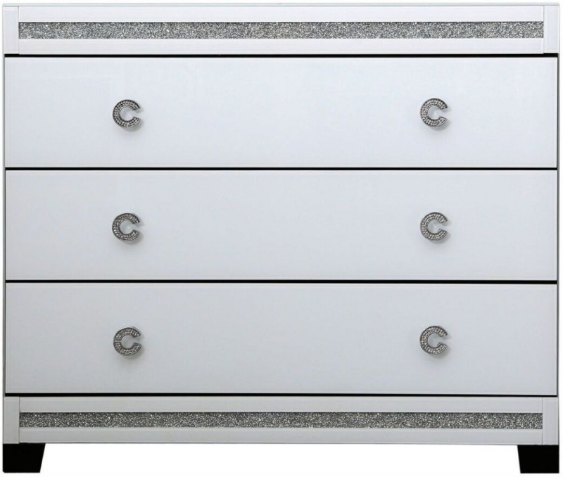 Easton White Mirrored 3 Drawer Chest