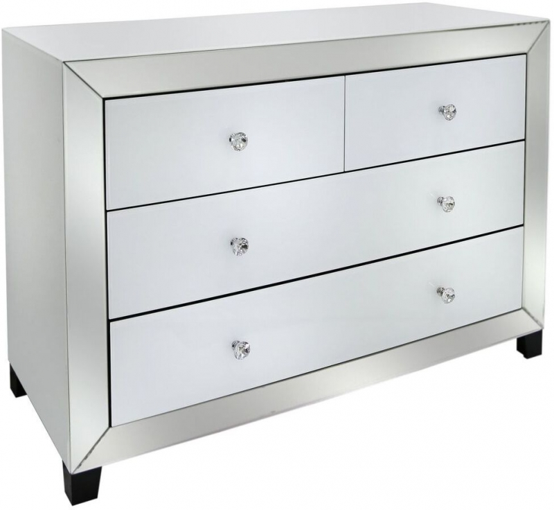 Leo White and Clear Mirrored 2+2 Drawer Chest