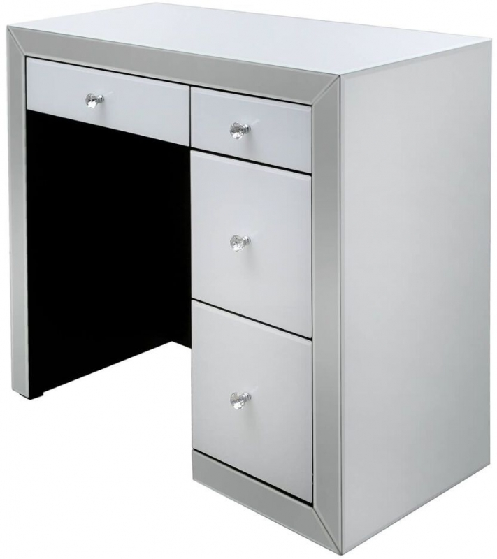 Leo White and Clear Mirrored Dressing Table