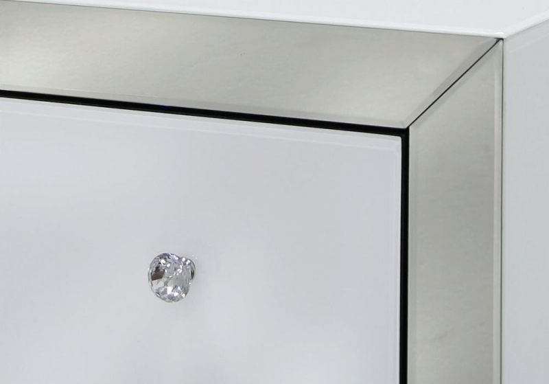 Leo White and Clear Mirrored Cabinet